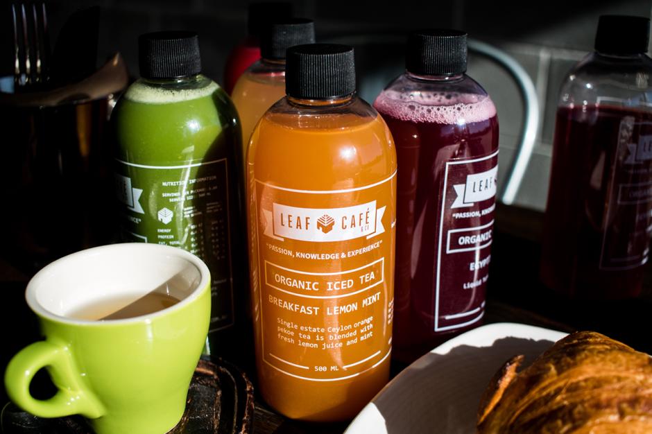 Leaf cafe & co iced teas label image
