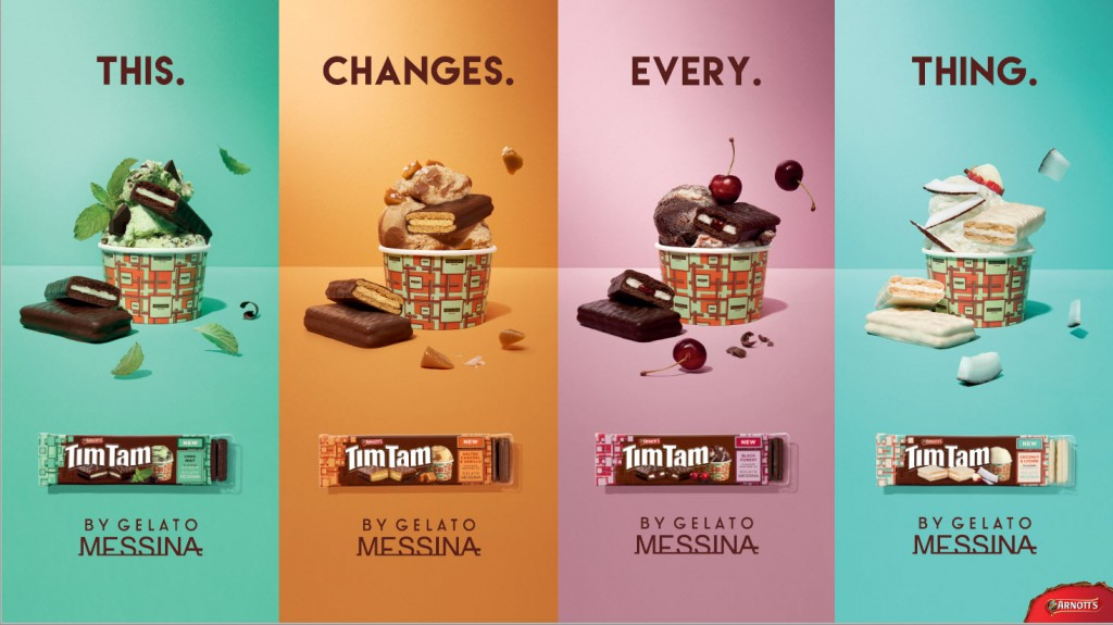 Tim Tam got the memo, mixing up their traditional brown colour scheme with pops of vibrance