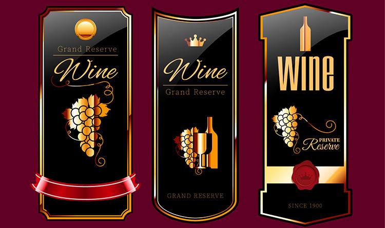Gold embellished wine labels image