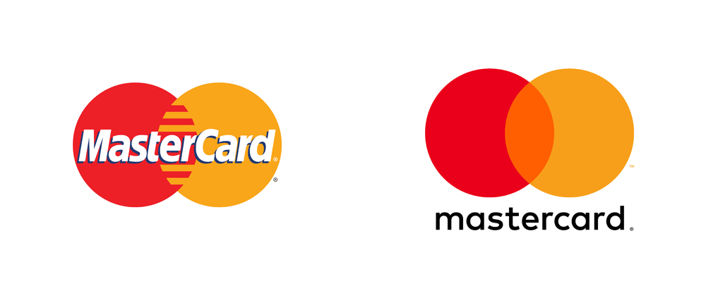 Mastercard logo redesign before and after image