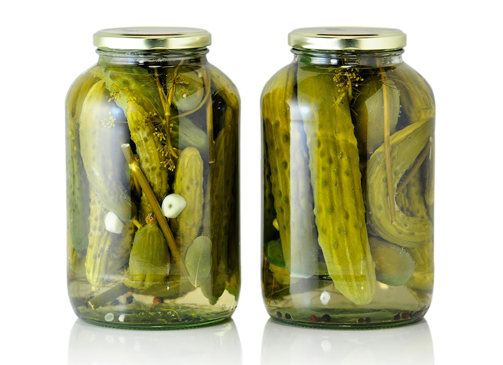 pickles in a jar with no label