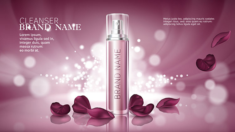 Pink beauty product packaging image