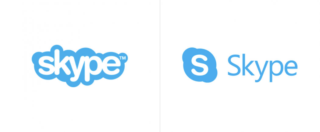 Skype logo redesign before and after image